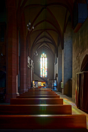 Collegiate church of Baden-Baden.  Interior with sunlight through the leaded pane