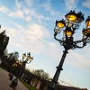 Majestic perspective street lamp view while sunset, Baden-Baden casino place, Germany