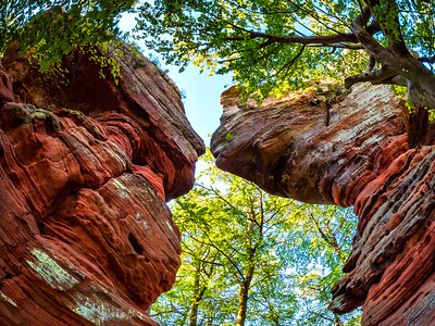 A mountain canyon with red rocks of great height on the border of France and Germany. Almost Grand Canyon in Arizona.