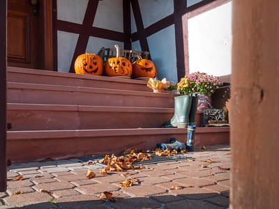 Orange Halloween pumpkins are laid out on the steps at the entrance to the house. Bright sunlight. Feels warm and comfortable at home.