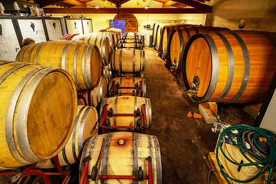 Oak barrels of wine in the basement of an Italian winemaker. Old wine production technology.
