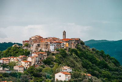 The most beautiful nature of Italy. Cities on the hills, palms and sun.