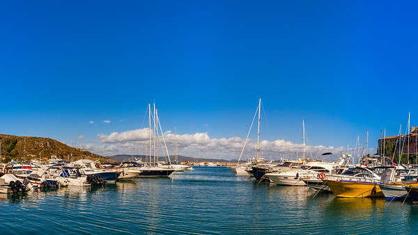 Porto Ercole, Italy. Landscape seaside harbor panoramic view.