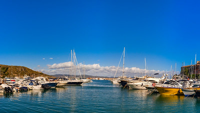 Porto Ercole, Italy. Landscape seaside harbor panoramic view.