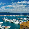 Editorial: 8th October 2017: Porto Ercole, Italy. Landscape seaside harbor panoramic view.