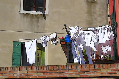 Hanging clothes for drying on the streets of Venice. Processing in the style of drawing.