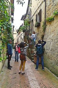 Tourists take pictures on the streets of a small town in Italy. Processing in the style of drawing.