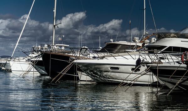 Harbor of big yachts in mediterranean sea, Tuscany