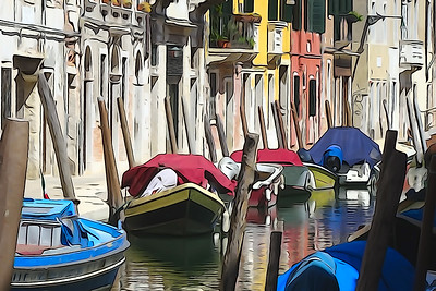 Canals of Venice. Gondolas rolling tourists, reflections of colorful buildings in the water. Processing in the style of drawing.