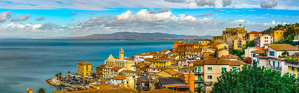 Editorial: 8th October 2017: Porto Santo Stefano, Italy. Landscape seaside aerial panoramic view.