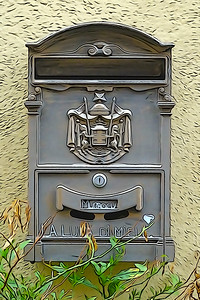 Vintage retro mailbox photographed with subsequent artwork in the style of drawing