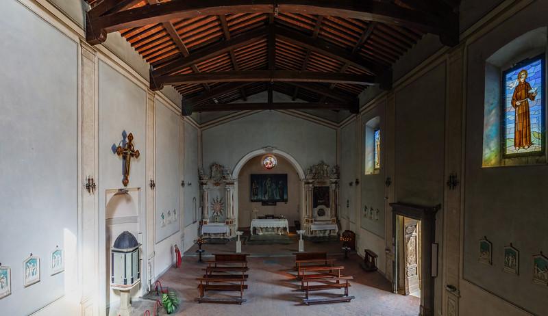 Old medieval church interior panoramic view, Maremma, Utaly