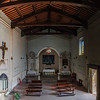Old medieval church interior panoramic view, Maremma, Utaly