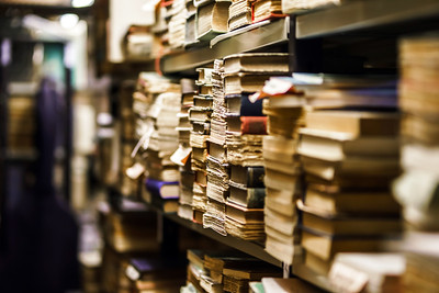 Stacks with many old books