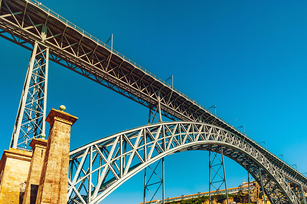 Beautiful steel bridge of St. Luis in Porto