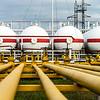 Big oil tanks in a refinery