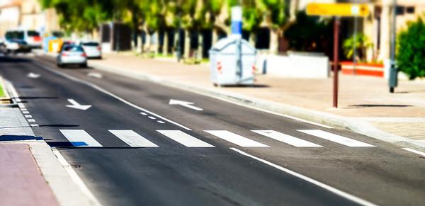 Pedestrian zebra accross the street