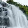 Beautiful high waterfall in swiss Alps, summer