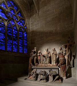 Medfieval religious sculptural composition in old cathedral church of Fribourg
