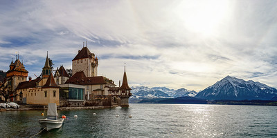 Beautiful medieval castle Oberhofen on Thun lake, Alps, Switzerland