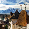 Beautiful panoramic view of Thun old city roofs and Alps on background