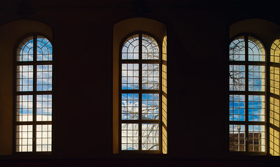 Beautiful highwindows in old church, view from the inside
