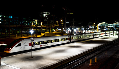 Editorial: 30th June 2019, Basel Switzerland. Train station at night