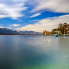 Calm place on Thun lake, Switzerland, springtime