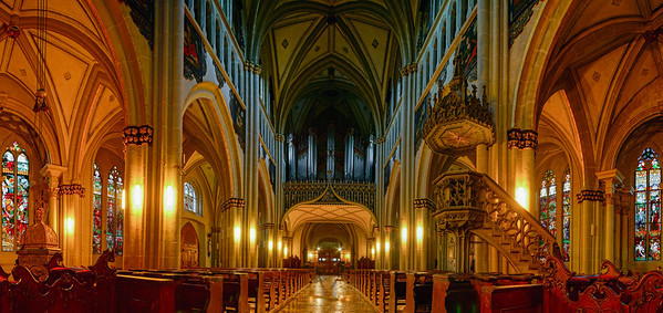Majestic medieval church interior, Fribourg, Switzerland