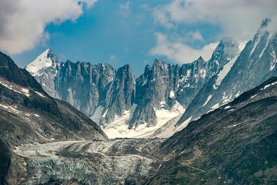 Beautiful landscape mountains view. Alpine peaks and glacier.