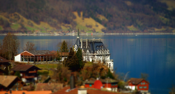Iseltwald village on the lake in Switzerland