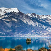 Beautiful panoramic view of blue lake in Iseltwald, Switzerland
