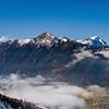 Panoramic aerial view to Luzern lake from high peak