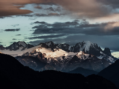 Alpine mountain peaks covered with snow, near Mont Blanc, high resolution