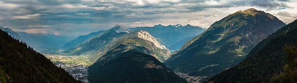 Aerial panoramic view of high Alps in Switzerland
