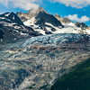 Beautiful landscape mountains view. Alpine peaks and glacier.