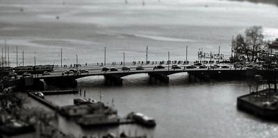 Contrast aerial view of bridge in Zurich