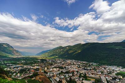 Panoramic aerial view of Martigny city, Switzerland
