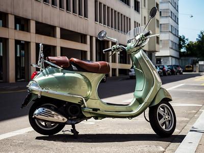 Editorial: 30th June 2019, Basel Switzerland. Retro Vespa moto on the street