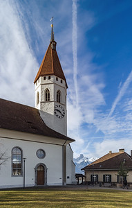 Beautiful white church with high tower  in Thun, Switzerland