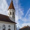 Beautiful white church with high tower  in Thun, Switzerland