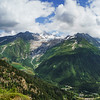High Alps panoramic view. Border of France and Swiss.