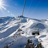 Chair lift to the high point on ski resort, sunny day