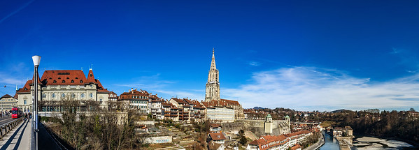 Editorial: 25th February 2017: Bern, Switzerland. Old center of Bern panoramic view