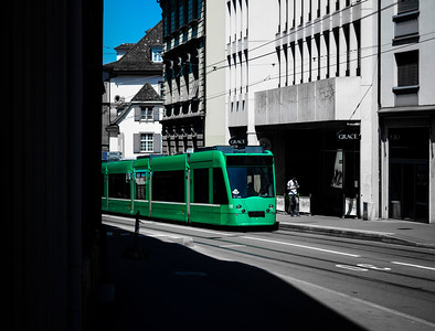 Editorial: 30th June 2019, Basel Switzerland. Tram on the street