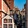 Streets of Strasbourg at dawn. Soft morning sun. The city is waking up.