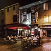 Editorial: 24th October 2017: Carcassonne, France. Night street view, summer cafe