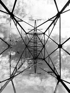 Power transmission mast. Wide angle view. Geometry and symmetry.