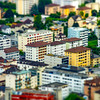 Tilt-shift miniature aerial view of new quarter in Martigny, Switzerland