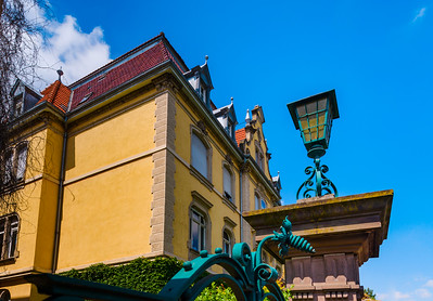 Old luxury villa perspective view, center of Colmar, France